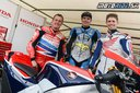 John McGuinness, Scott Redding a Casey Stoner pri Honda RC213V S - Goodwood festival of Speed 2015